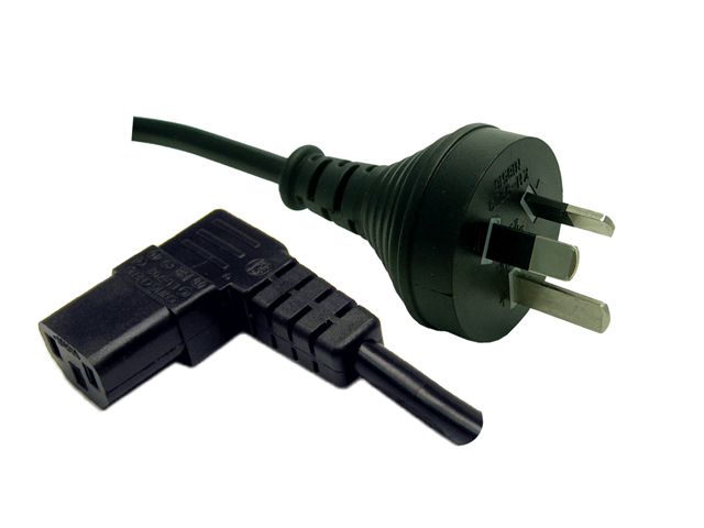 Dynamix 5M 3 Pin Plug to Right Angled IEC Female Connector 10A. SAA Approved Power Cord. BLACK Colour