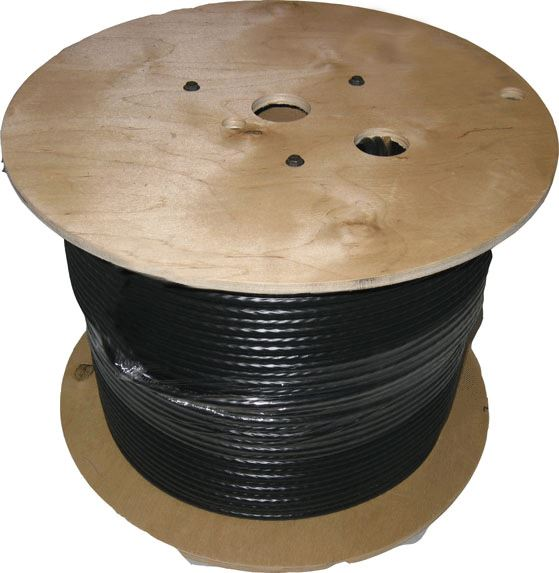 Dynamix 305m Black Cat6 UTP Solid UV Stabilised Outdoor Cable Roll - Supplied on a Wooden Reel
