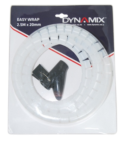 Dynamix Easy Wrap 2.5m x 20mm Clear Cable Management Solution