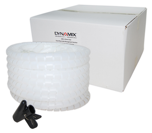 Dynamix Easy Wrap 20m x 25mm Clear Cable Management Solution - Includes Tool
