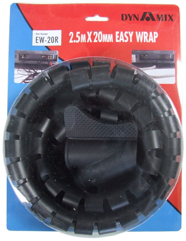Dynamix Easy Wrap 2.5m x 20mm Black Cable Management Solution
