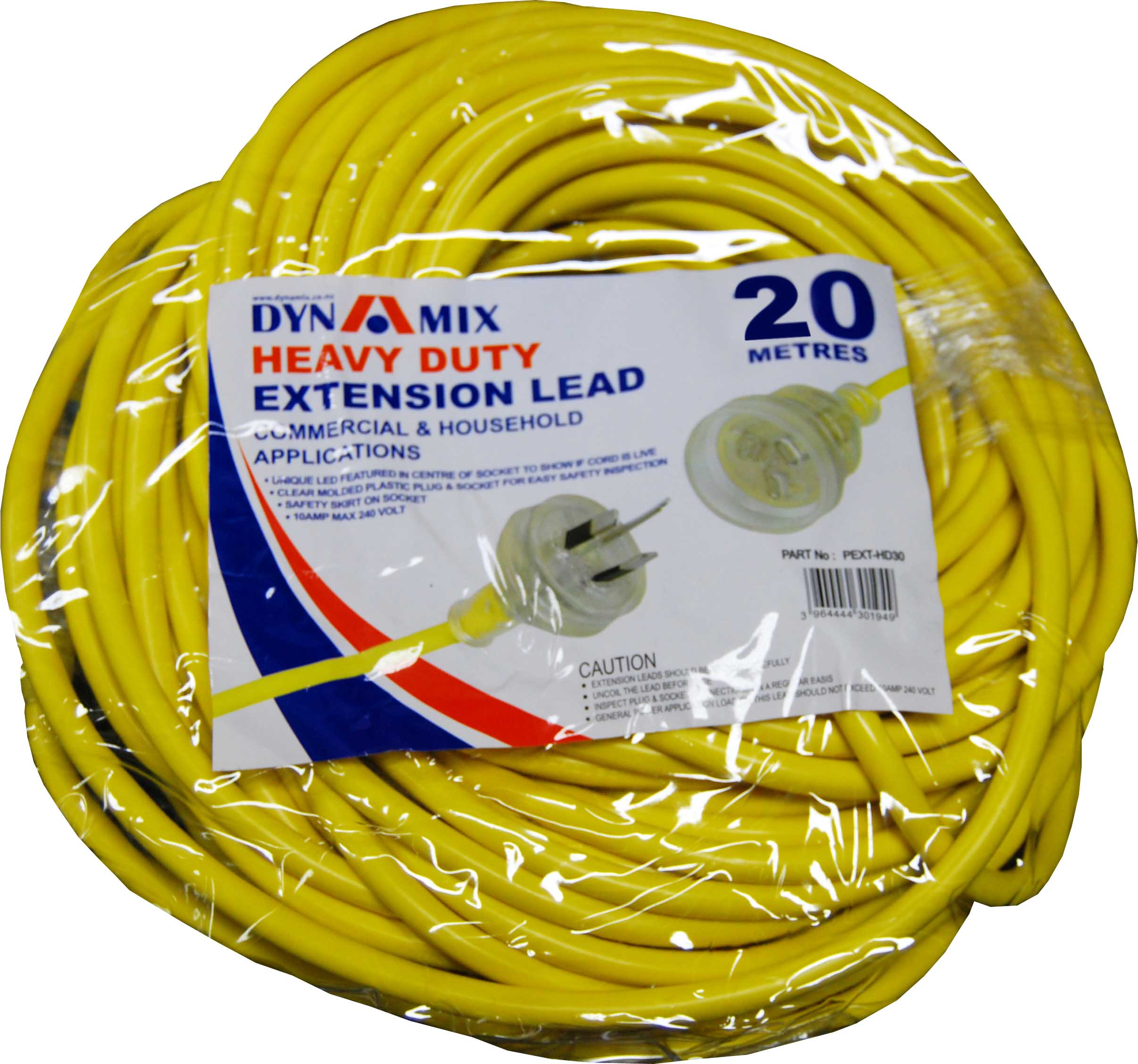 DYNAMIX 20M Heavy Duty Power Extension Lead. Supplied in Retail Packaging