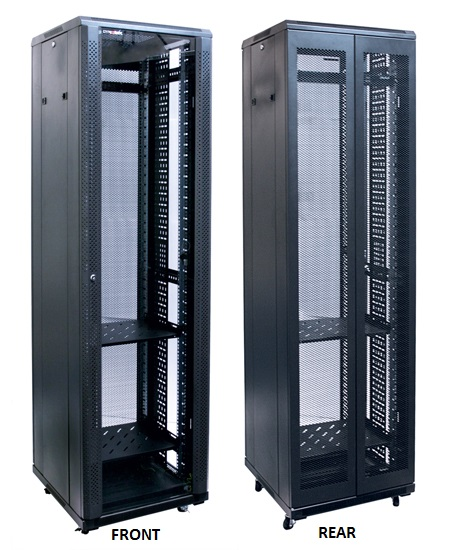 Dynamix 42RU, 800mm Deep Front Mesh Door, Rear Mesh Double Doors Server Cabinet
