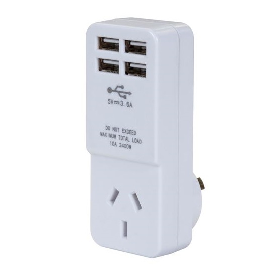 Dynamix Single Plug with 4 x USB Charging Outlets