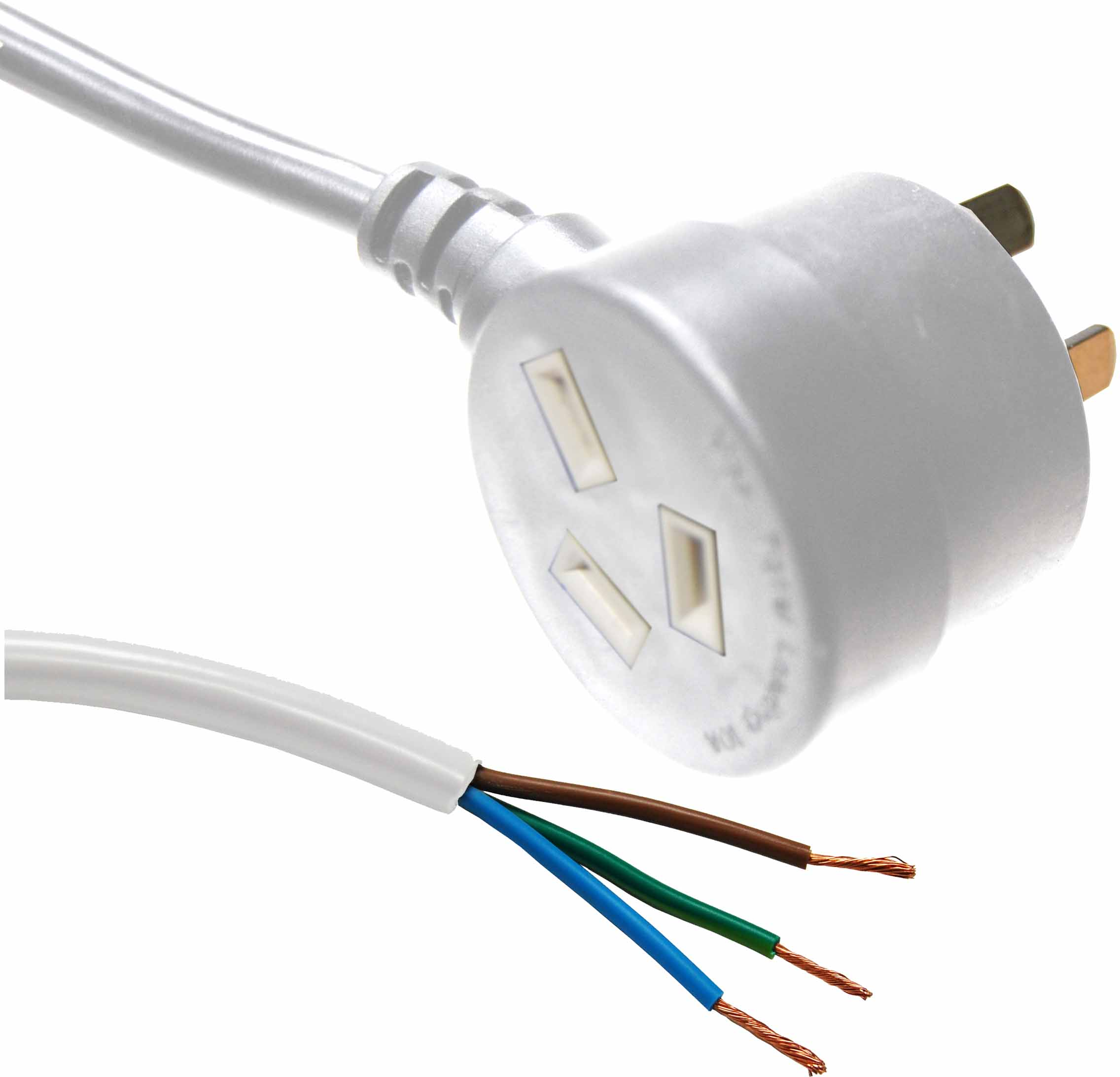 Dynamix 3m 3 Pin Tapon Plug to Bare End SAA Approved Power Cord Cable - White
