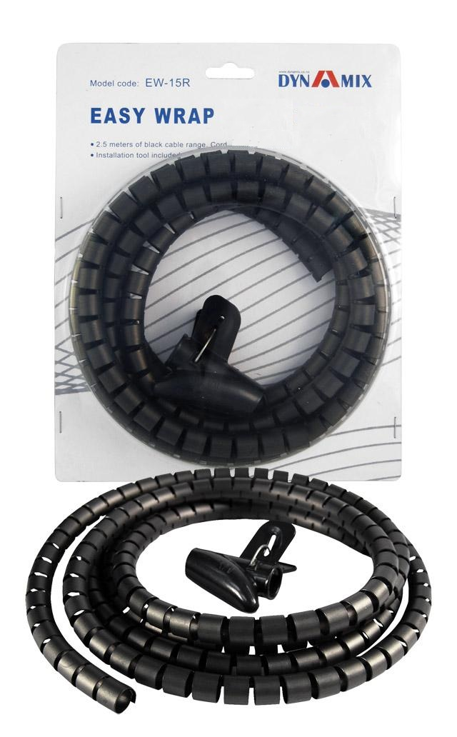 Dynamix Easy Wrap 2.5m x 15mm Black Cable Management Solution