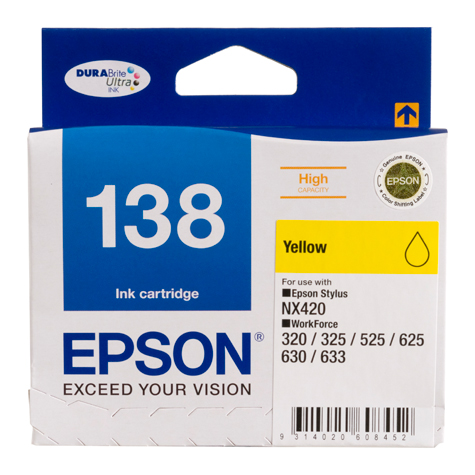Epson DURABrite Ultra 138 Yellow High Yield Ink Cartridge