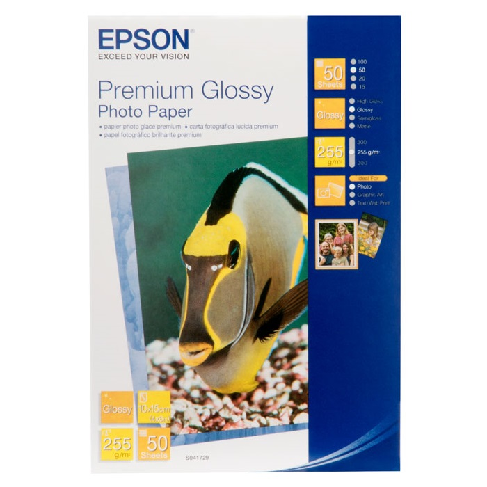 Epson S041729 Premium Glossy 4x6 255gsm Photo Paper - 50 Sheets