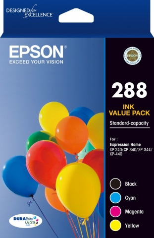 Epson DuraBrite Ultra 288 Ink Cartridge Value Pack - Black Cyan Magenta Yellow