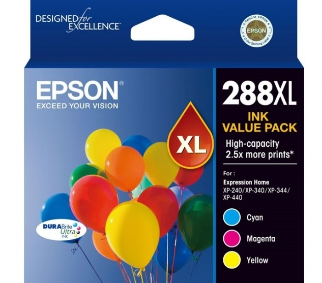 Epson DuraBrite Ultra 288XL High Yield Ink Cartridge Value Pack - Cyan Magenta Yellow