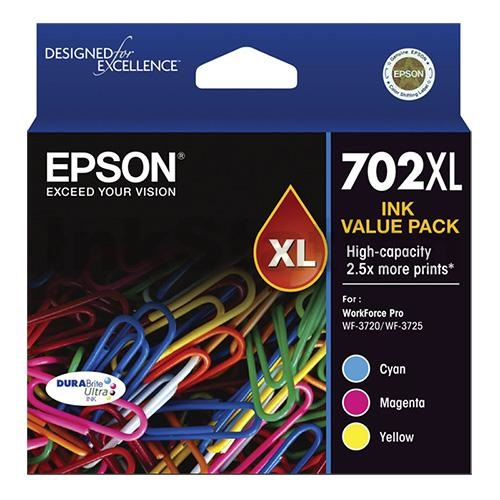 Epson DuraBrite Ultra 702XL High Yield Ink Cartridge Value Pack - Cyan Magenta Yellow