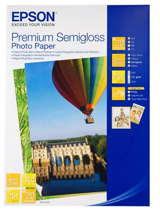 Epson S041332 Premium Semi Gloss A4 251gsm Photo Paper - 20 Sheets