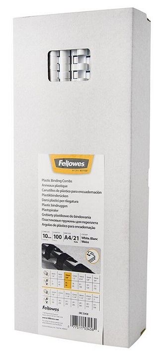 Fellowes 10mm Plastic Binding Combs White - 100 Pack