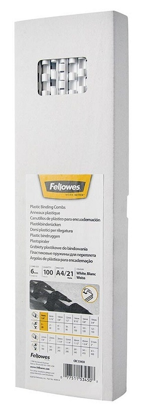 Fellowes 6mm Plastic Binding Combs White - 100 Pack