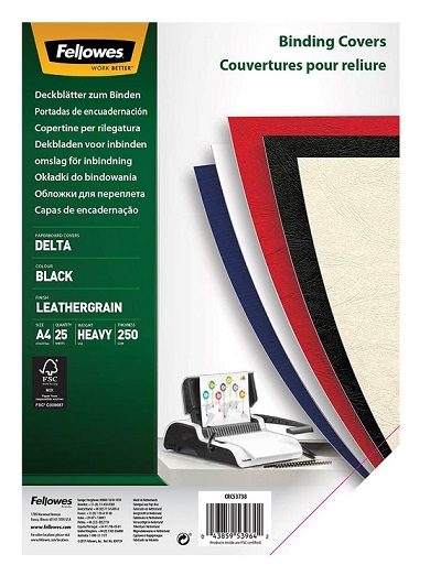 Fellowes A4 250gsm Leatherboard Binding Covers  Black - 25 Pack
