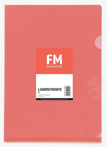 File Master A4 L-Shape Pocket Presentation Folder Red - 12 Pack