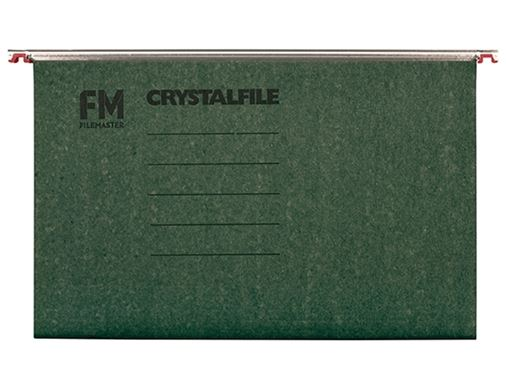 File Master Crystalfile Foolscap Green Suspension Files - 50 Pack