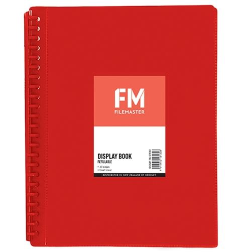 File Master 20 Pocket Refillable A4 Display Book with Insert Cover - Red