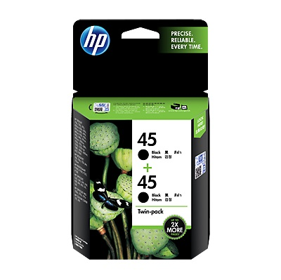 HP 45 Black Ink Cartridge Twin Pack