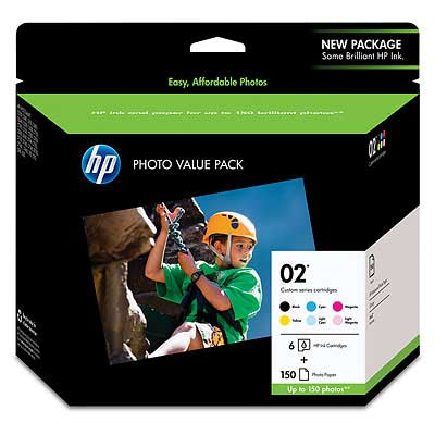 HP No 02 Photo Value Pack - 6 Cartridge Pack + 150 Sheets Photo Paper