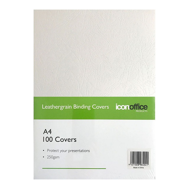 Icon A4 250gsm Binding Covers White - 100 Pack