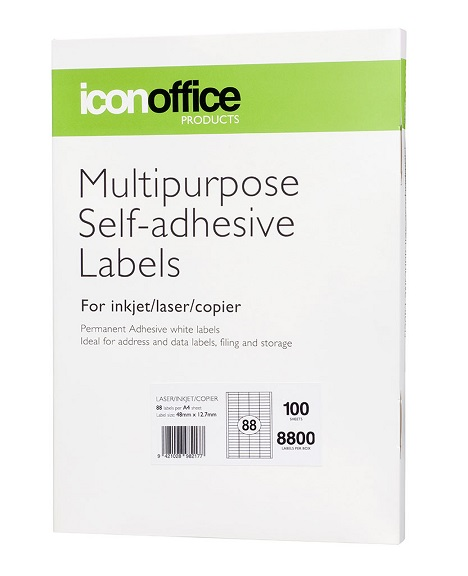 Icon 48 x 12.7mm Multipurpose Self-Adhesive White Labels - 8800 Pack
