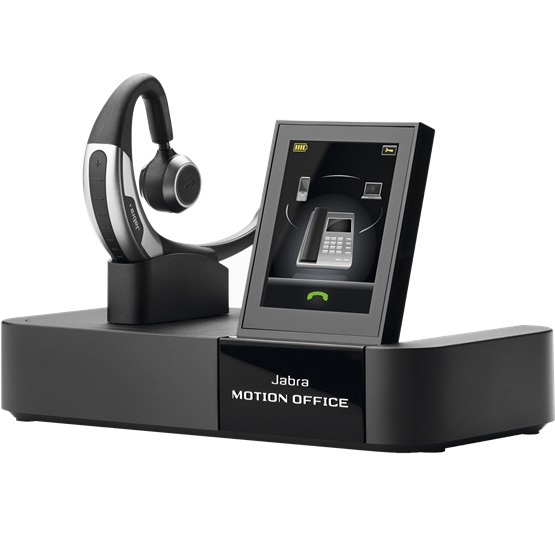Jabra Motion Office MS Bluetooth Wireless Mono Headset with Touch Screen Base - Optimised for Microsoft Skype for Business