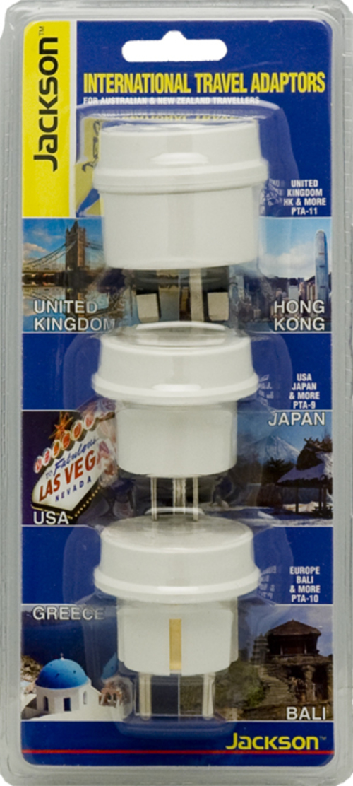 Jackson Outbound International Travel Adaptor for US, Europe & UK - 3 Pack