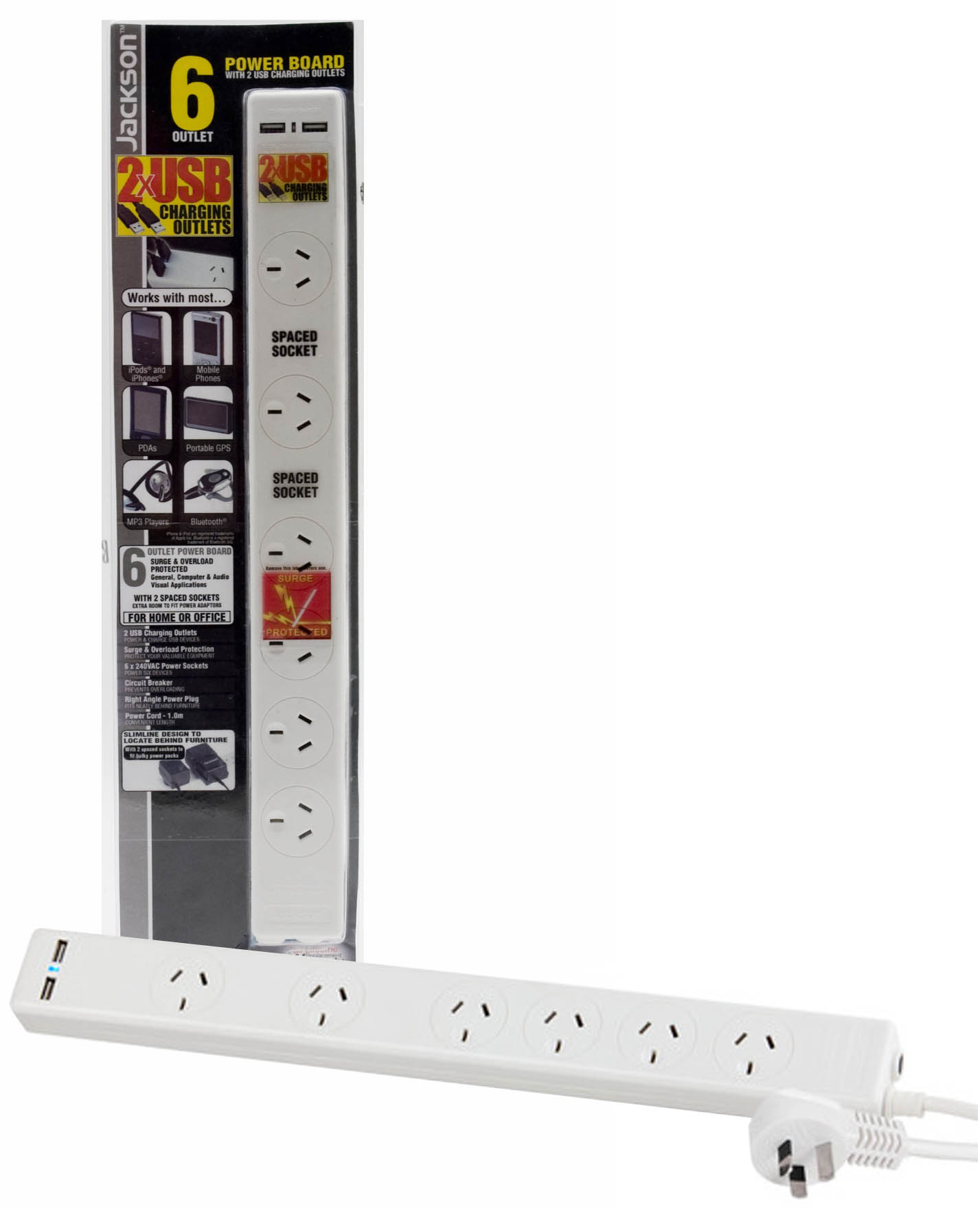 Jackson 6 way Protected Powerboard 2 double spaced sockets and 2x USB Outlets, Surge & Overload Protected