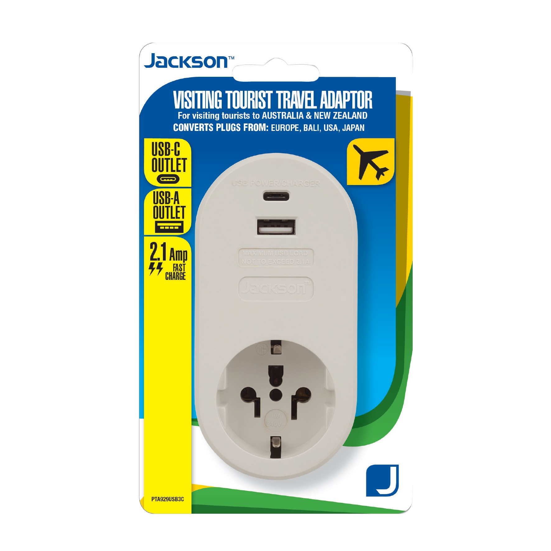 Jackson Inbound Travel Adaptor with 1 USB-A & 1 USB-C for Converting USA, Japan, Europe & Bali Plugs to New Zealand & Australia