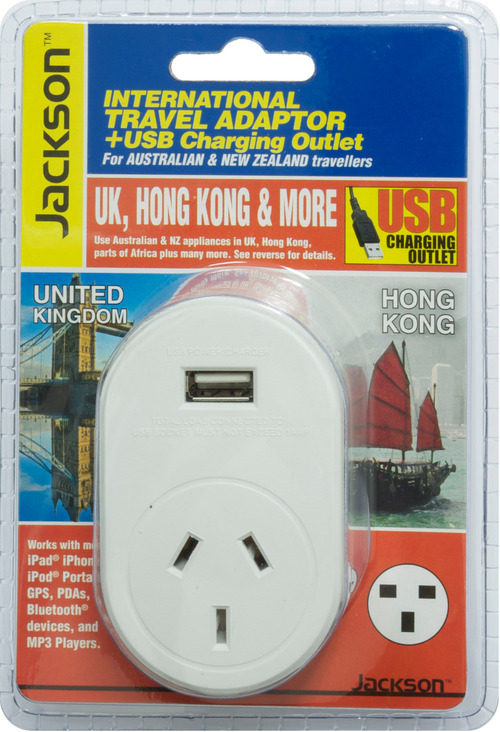 Jackson Outbound International Travel Adaptor With 1 USB Charging Port (1A) for UK & Hong Kong