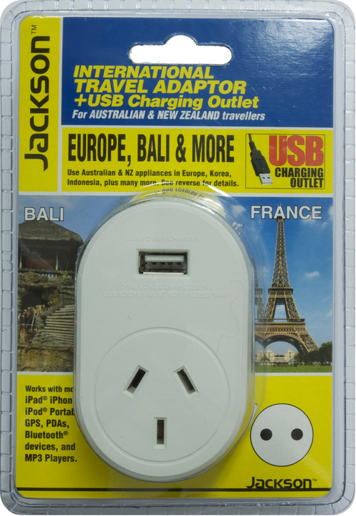 Jackson Outbound International Travel Adaptor With 1 USB Charging Port (1A) for Europe & Bali