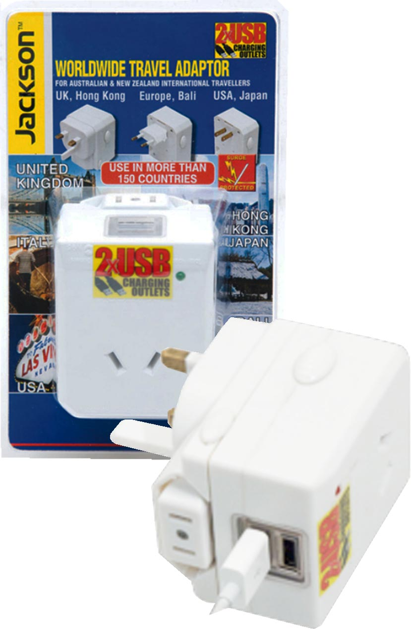 Jackson Outbound Travel Adaptor - includes 2 x USB Charging Ports