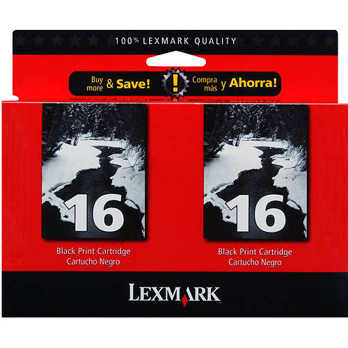 Lexmark #16 Black Ink Cartridge - Twin Pack