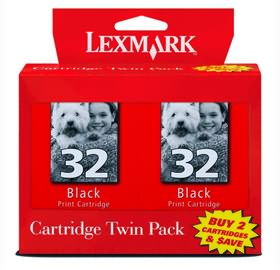 Lexmark #32 Black Ink Cartridge - Twin Pack
