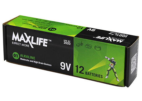 Maxlife 9V Alkaline Battery 12 Pack