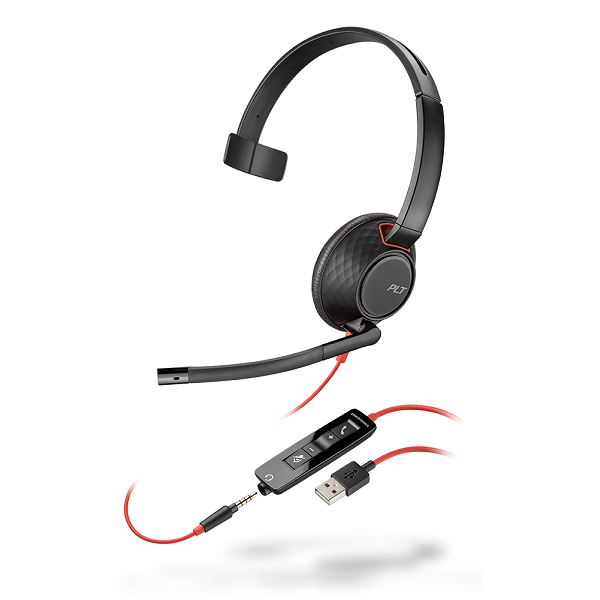 Poly Blackwire 5210 UC Wired Mono Over Head USB Type-A Headset