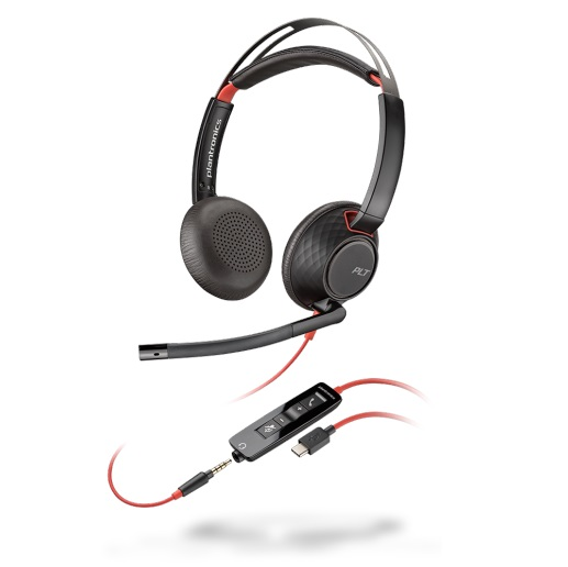 Poly Blackwire 5220 UC USB-C Wired Stereo Over Head Headset