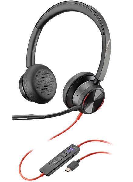 Poly Blackwire 8225-M MS USB-C Over the Head Wired Stereo Headset - Optimised for Microsoft Business Applications
