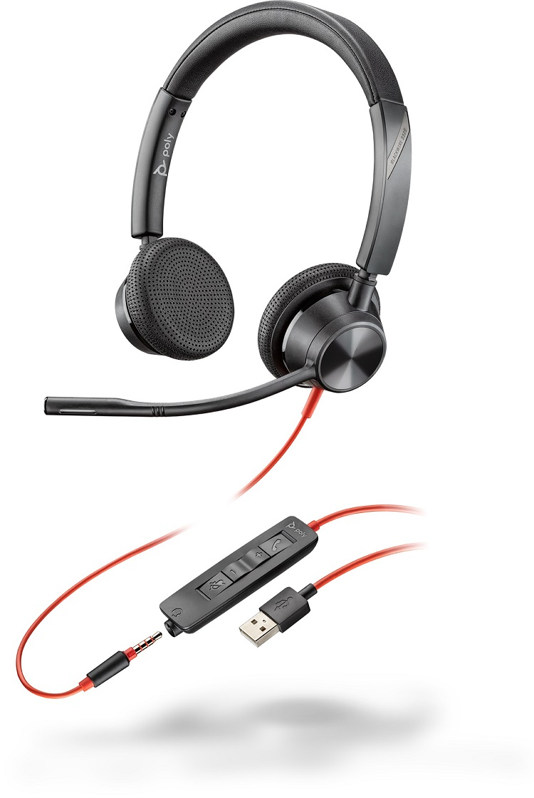 Poly Blackwire 3325 UC USB-A & 3.5mm Over the Head Wired Stereo Headset