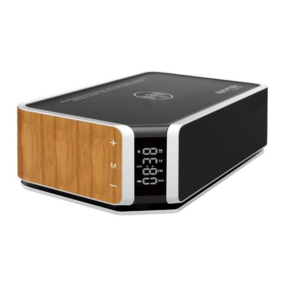 Promate AURABOOM 10W Stereo Wireless Bluetooth Speaker with Wireless Charging Pad - Brown