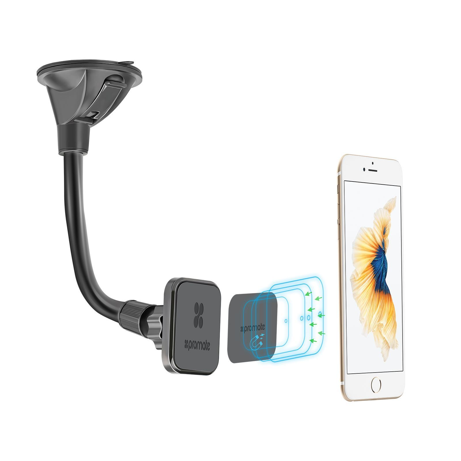Promate MAGMOUNT-2 Universal 360 Degree Rotatable Magnetic Car Dash/Window Mount for iPhone
