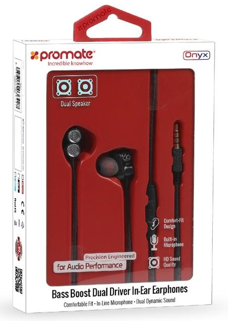 9111bc4e9da ... Promate ONYX Bass Boost Dual Driver In-Ear Earphones with Built-In Mic -