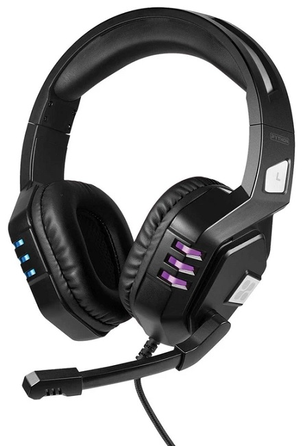 Promate PYTHON Wired USB Overhead Gaming Headset with Microphone - Black