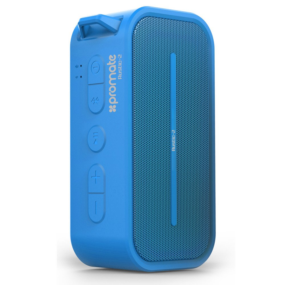 Promate Rustic-2 Portable IPX5 Water Resistant Wireless Bluetooth Speaker - Blue