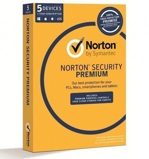 Symantec Norton Security Premium Household 12 Month Subscription - For 5 Devices