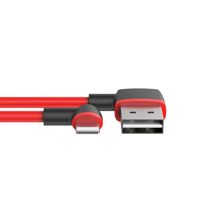 Unitek 1M Right Angled Lightning to USB Charge & Sync Cable - Red/Black