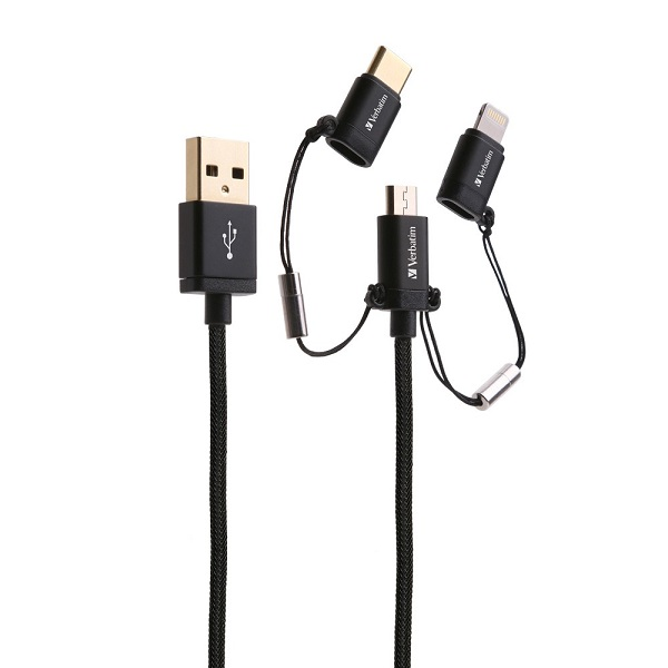 Verbatim 120cm 3-in-1 Micro USB / Lightning / Type C to USB-A Charge & Sync Cable - Black