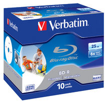 Verbatim BD-R 6X 25GB Single Layer Inkjet Printable Blu-Ray Discs - 10 Pack with Jewel Case