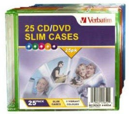 Verbatim CD/DVD Empty Coloured Slim Cases - 25 Pack